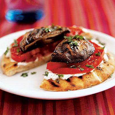 Portobello Tomato Goat Cheese Pita